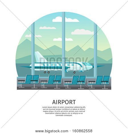 Airport interior orthogonal design with waiting hall and view from window at airfield vector illustration
