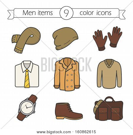 Men's accessories and clothes color icons set. Scarf, cap, gloves, shirt and tie, jacket, pullover, wristwatch, boot, bag. Autumn fashion. Isolated vector illustrations
