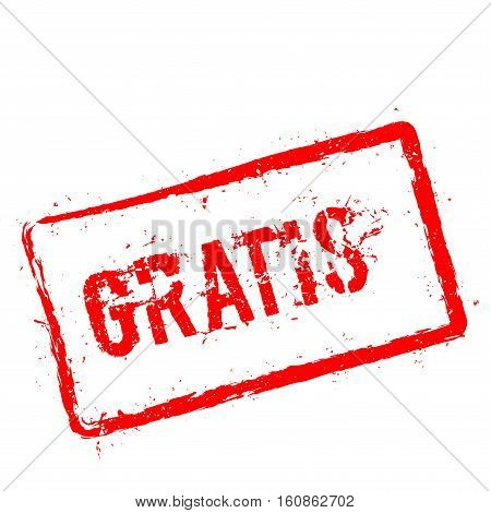 Gratis Red Rubber Stamp Isolated On White Background. Grunge Rectangular Seal With Text, Ink Texture