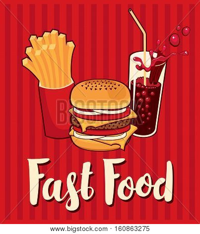 banner with fast food with cola hamburger and fries
