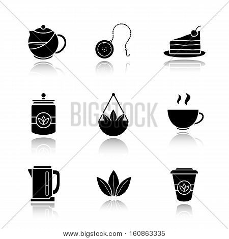 Tea drop shadow black icons set. Teapot and ball infuser, chocolate cake on plate, tea container, loose leaves in bulk, steaming cup, electric kettle, takeaway paper cup. Isolated vector illustrations