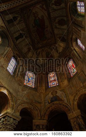 Poitiers France - September 12 2016: Dome (view from inside) Church of St. Radegund at Poitiers in France