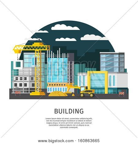 Construction at night orthogonal design with objects in scaffolding and building machines on urban background vector illustration
