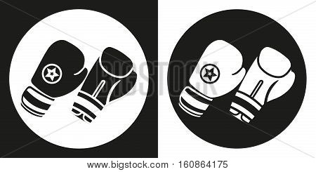 Boxing gloves icon. Silhouette boxing gloves on a black and white background. Sports Equipment. Vector Illustration