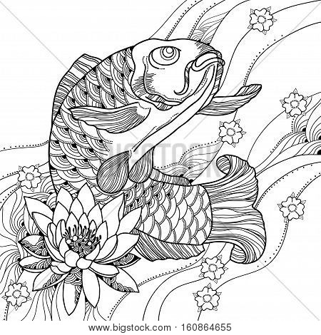 e9e05259f3da5 Vector illustration with hand drawn outline koi carp, waves and lotus or  water lily in