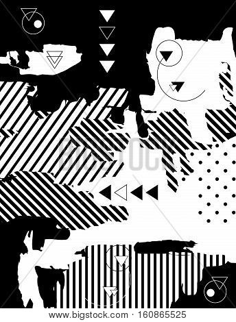 Trendy monochromatic geometrical background. Retro style texture