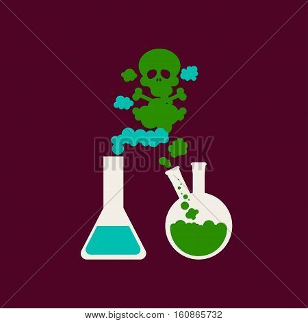Drugs and alcohol Vector illustration Steam in form of skull volatilizing from two chemical flasks Flat design