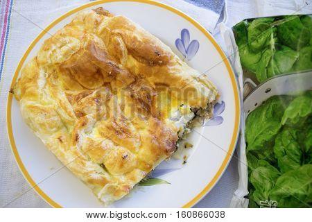 Crispy Greek-style pie a kind of filled savoury tart