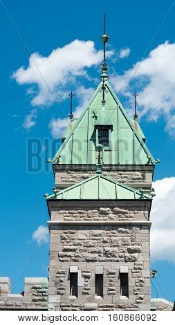 Gatehouse of Porte St. Louis in the City Wall of Quebec City Quebec Canada