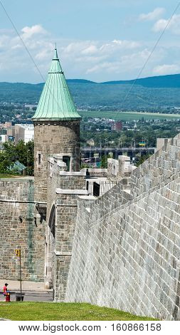Tower of St. John Gate in Quebec City Quebec Canada
