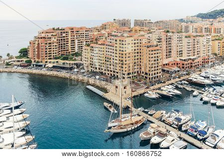 boats and buildings at the Fontvieille harbour