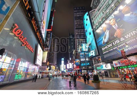 NEW YORK CITY - OCT 2, 2011: Times Square on Broadway at night wide angle, Manhattan, New York City, USA.