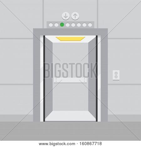 empty elevator with opened door. vector illustration
