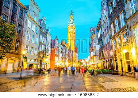 Night view on the illuminated town hall in the old town of Gdansk, Poland