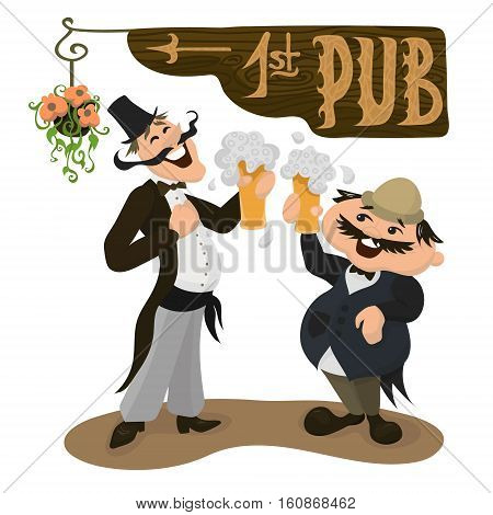 Two happy Englishmen drinking beer in a traditional pub. British men in traditional clothes. Vector illustration in flat cartoon style.