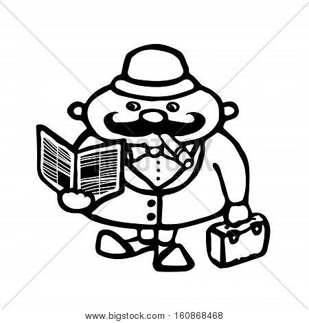 Cute cartoon illustration of a typical englishman. A man with a cigarette a paper and a suitcase. Vector illustration in black outline isolated on white background.