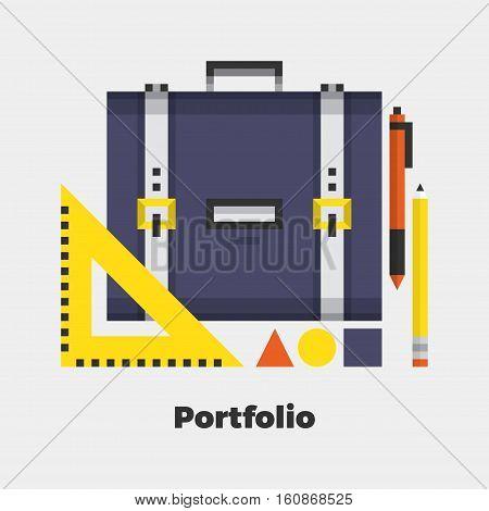 Portfolio Flat Icon. Material Design Illustration Concept. Modern Colorful Web Design Graphics. Premium Quality. Pixel Perfect. Bold Line Color Art. Unusual Artwork Isolated on White.