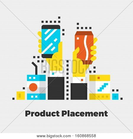 Product Placement Flat Icon. Material Design Illustration Concept. Modern Colorful Web Design Graphics. Premium Quality. Pixel Perfect. Bold Line Color Art. Unusual Artwork Isolated on White.