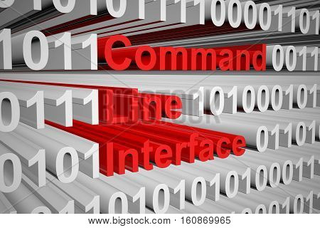 Command line interface in the form of binary code, 3D illustration