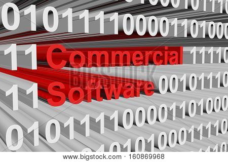 commercial software in the form of binary code, 3D illustration