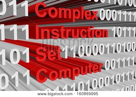 complex instruction set computer in the form of binary code, 3D illustration