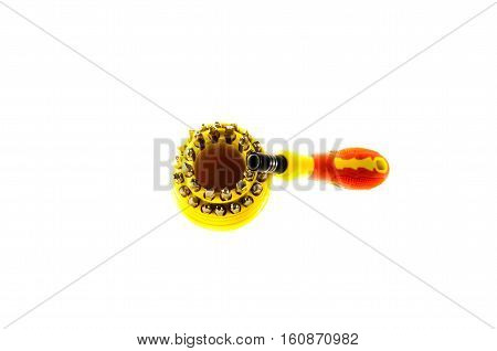 Screwdriver set with different bits isolated on white