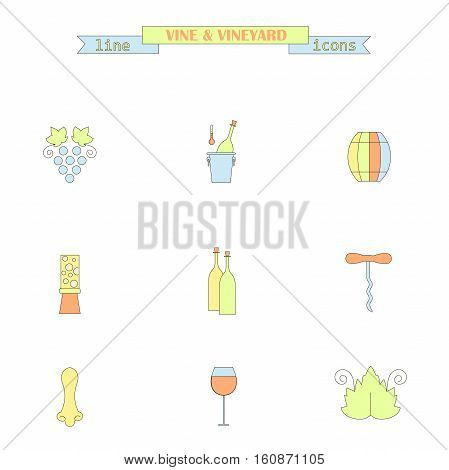 Set of color line icons with different wine elements - bottle, grape, corkscrew, vine leaf, glass, barrel. Stock vector illustration line style icon series