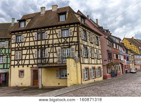 Famous traditional half-timbered houses in Colmar, Alsace, France
