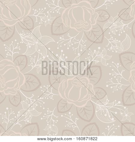 Seamless beige and white rose vector pattern.