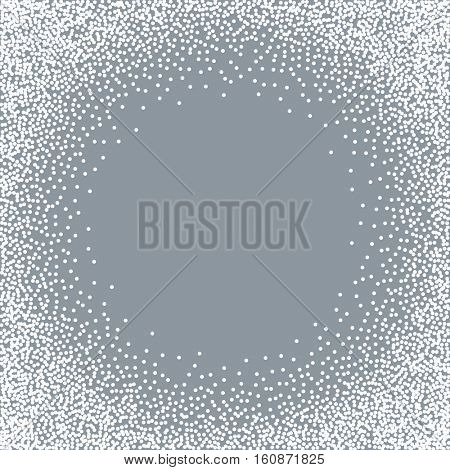 Abstract white snow dots round frame vector background with grey copy space.