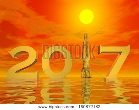 Peaceful and zen yogi new year 2017 in colorful sunset background - 3D render