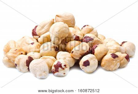 a group of fresh Hazelnuts isolated on white