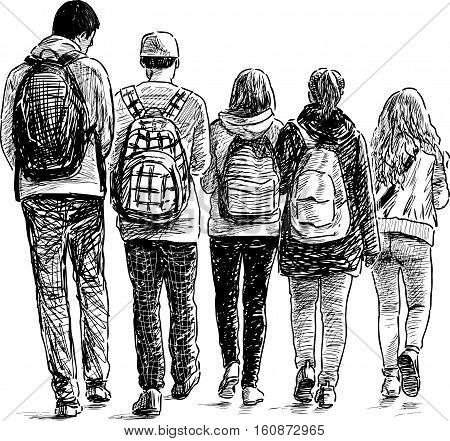 Vector drawing of the schoolchildren on a stroll.