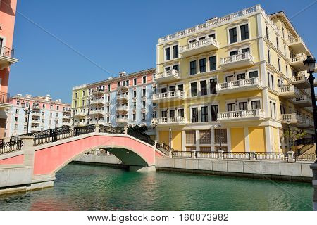 Canal view in Venice-like Qanat Quartier of the Pearl precinct of Doha, Qatar.