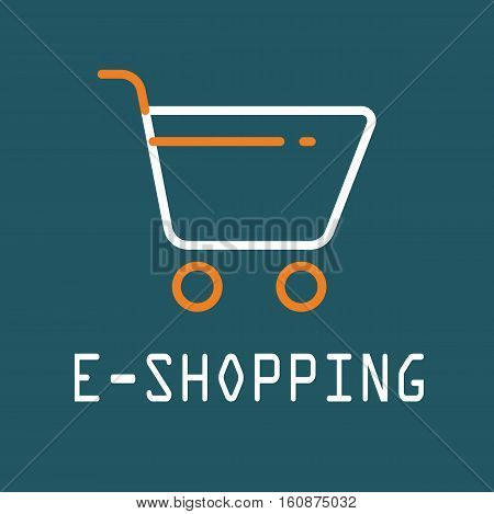 E-Shopping cart orange background icon vector illustration stock