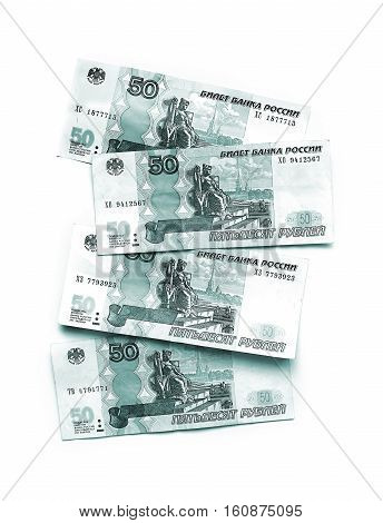 Abstract colored russian money five hundred rubles banknotes