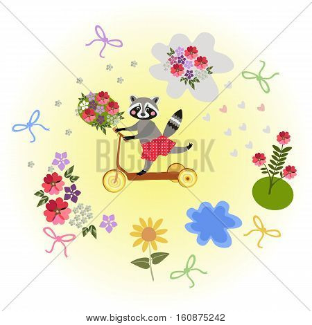 Cute cartoon raccoon riding by homemade scooter with bouquet as a gift. Greeting card.