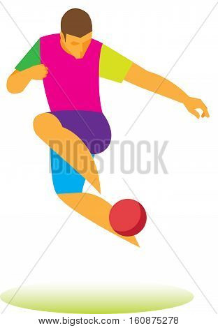 football freestyle. young athlete demonstrates the technique of juggling ball