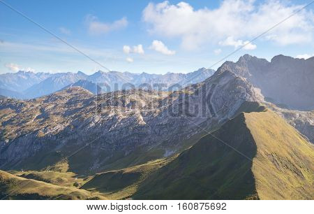 rocky mountains in Austrian Alps on sunny day