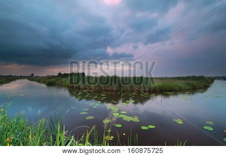 wild pond during dramatic summer storm Germany