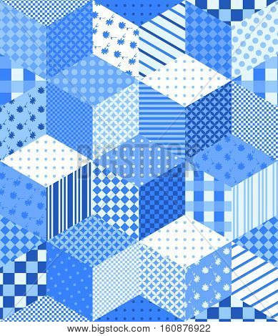 Winter seamless patchwork pattern with stars. New year background. Vector illustration of quilt in blue and white tones.