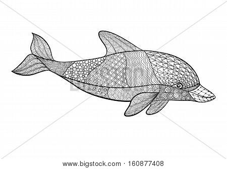 beautiful monochrome black and white dolphin with decorative flourish element. Hand Drawn vector illustration isolated on white background. Vintage sketch for tattoo design or mehandi.