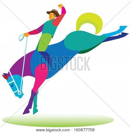 cowboy tames a wild horse at a rodeo