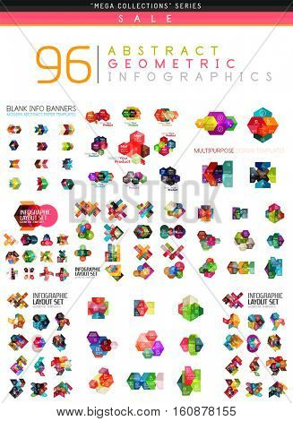 Vector mega collection of web abstract business infographic templates - geometric shapes with options elements for business background, numbered banners, graphic website poster