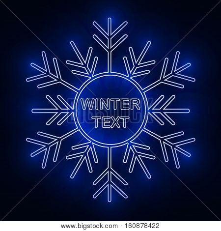 Snowflake frame. Winter theme. Christmas luminous frame. Vector Image.