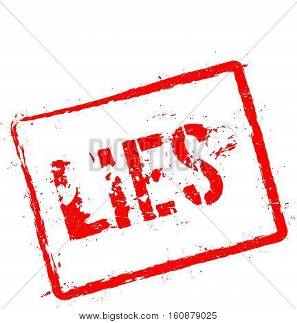Lies Red Rubber Stamp Isolated On White Background. Grunge Rectangular Seal With Text, Ink Texture A