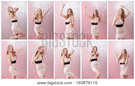 Fashion portrait of dancing blond woman with glass of champagne at party, drinking champagne over glowing background. Christmas and New year holiday
