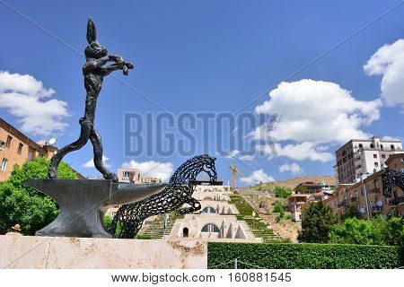 YEREVAN ARMENIA - MAY 2016: Modern art statue rabbit near the Yerevan Cascade a giant stairway in Yerevan Armenia.