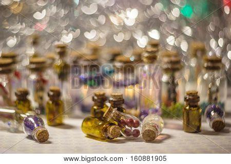 A Lot Of Decorative Bottles