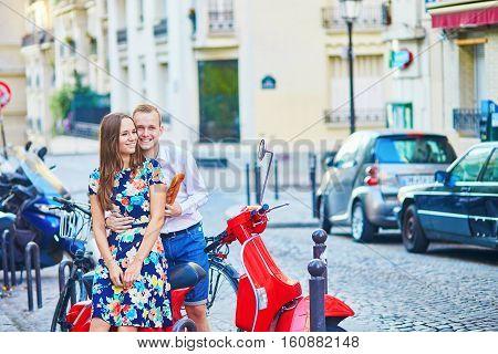 Young Couple Having A Date On Montmartre, Paris, France